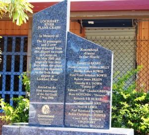 The memorial for the Lockhart River aircraft crash