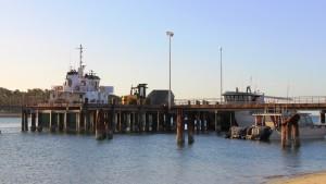 A SeaSwift barge at Seisia wharf