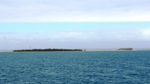 A typical coral cay with light tower