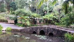 The foot bridge and shelters at the Tamborine Botanical Gardens