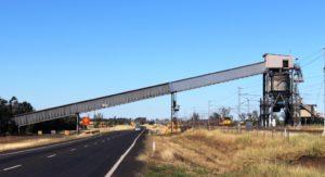 Coal conveyor and loaded train near Blackwater