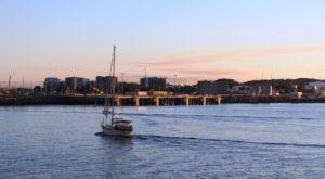 Yacht entering Mackay Harbor