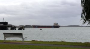 A bulk carrier on its way into the Gladstone coal terminal