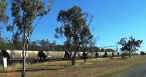 Driving past a long coal train