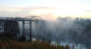The bridge in the morning fog