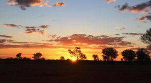 Sun sett at our Peek Creek Bore camp sight north of Boulia