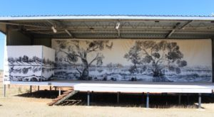 The stage at the Drovers Museum. Anne Kirkpatrick, daughter of Slim Dusty, will perform here during the festival