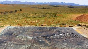 The Wilpena diorama viewed against the background of some of the mountains that it depicts