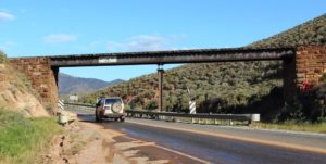 An elevated crossing of the road to Port Augusta by the Pichi Richi Railway. This was formerly the track of the famous Ghan rail to Alice Springs.