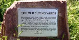 The information plaque at the rebuilt cueing yards